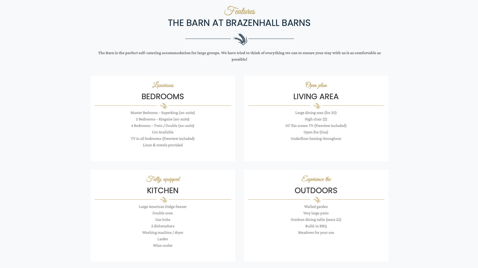 Brazenhall Barns Property Features