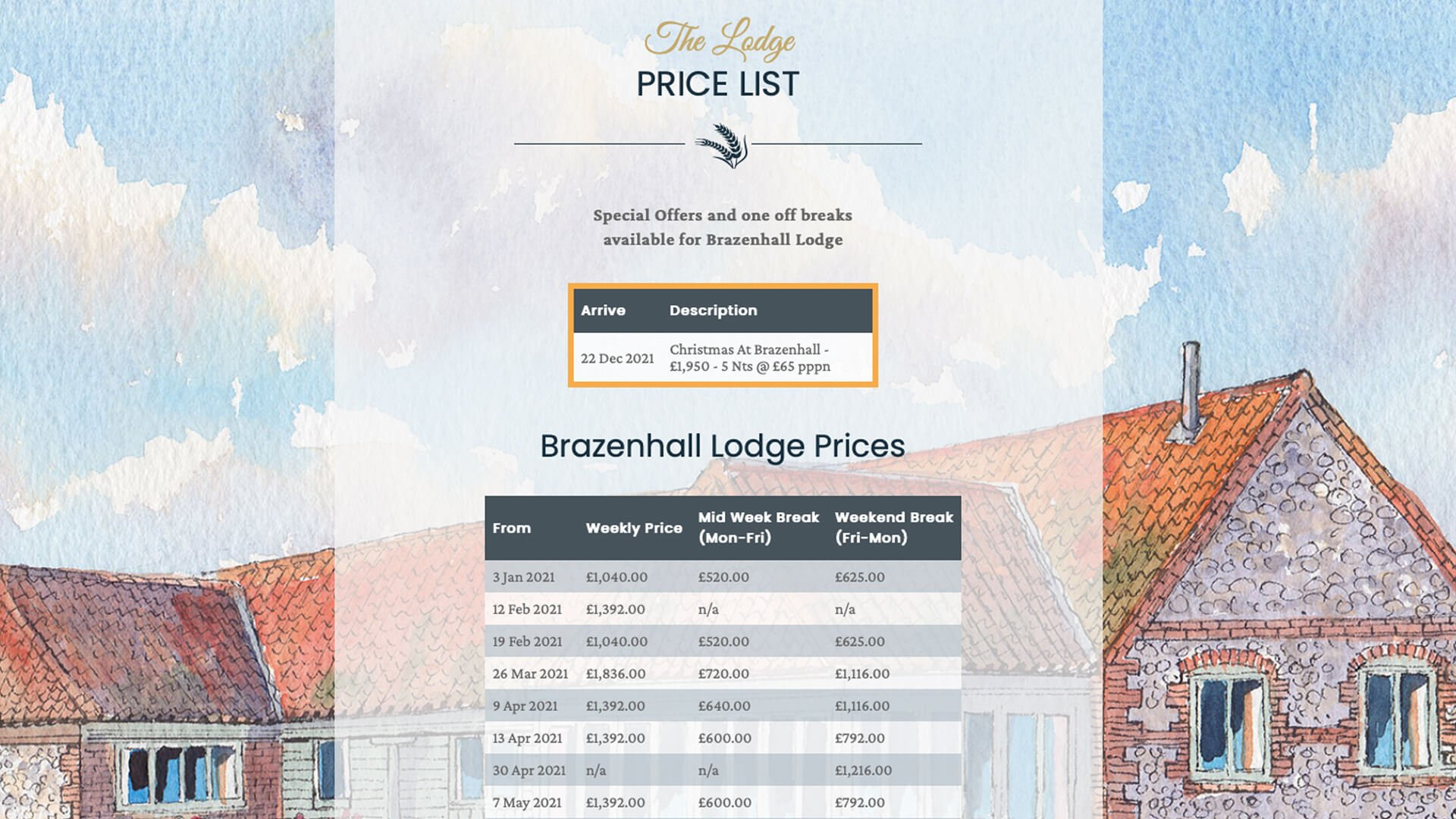 Brazenhall Barns Price List
